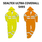 New HI VIS Waterproof Coverall Lined Hooded Warm BoilerSuit Safety Workwear S495