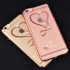 Ultra Thin Diamond Bling Heart Clear Soft Case Cover For iPhone 6 6s 7 8 Plus X
