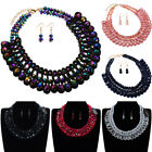 Fashion Jewelry Chain Resin Rhinestone Choker Statement Bib Pendant Necklace