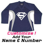 Superman Print On A Multi Color Hockey Jersey Optional Name & Number - Navy