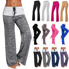 Women Foldover Trousers Flare Wide Leg Heather Long Loose Harem Comfy Yoga Pants