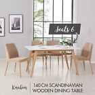 140cm Scandinavian Style Wooden Dining Table Kitchen Room Matte White Furniture