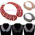 Fashion Jewelry Chain Crystal Resin Pearl Choker Statement Pendant Bib Necklace