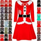 Kids Girls Childrens Christmas Belted Ribbon Candy Santa Bread Swing Mini Dress