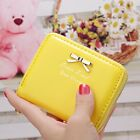 Cute Bowknot Leather Credit Card Holder Zip Women's Mini Wallet Bag Storage
