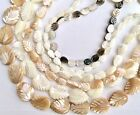 Natural Shell and Mother of pearl leaves beads various sizes and colors
