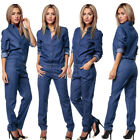 US Women's Button Romper Denim Jeans Casual Long Sleeve Over