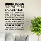 House Family Rules Home Wall Sticker Quote   Living Room Decor Mural Decal Uk