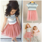 2017 Cute Girls Casual Dress Kids Baby Striped Princess Tulle Tutu Party Dress