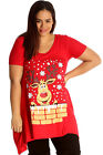 New Womens Top Plus Size Ladies Rudolph Reindeer Christmas Print Sale T-Shirt