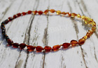 Baltic Amber Baby Necklace POLISHED BEAN Pop Clasp Anti-Inflammatory Teeth