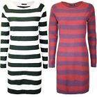 Womens Ladies Round Neck 2 Tone Knit Contrast Stripe Long Sleeve Long Mini Dress