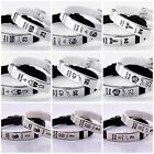 NBA Basketball Sport Bracelet Silicone and Stainless Steel Set 2 Black&White