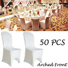 1/5/50/100pcs Chair Cover Arched/Flat Wedding Banquet Decor Spandex White/Black