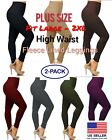 High Waist Cotton Blend Fleece Lined Leggings Plus Size (l To 2xl) -2 Pack