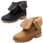 Foldable Ladies Ankle Boots Martin Shoes Lace Up Mid Winter Snow Combat New Calf