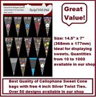 "UNIQUE CELLO CELLOPHANE SWEET CONE BAGS WITH 4"" TWIST TIES PARTY BAGS 18 X 37cm"