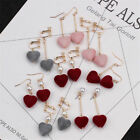 Love Pearl Asymmetric Long Sweet Temperament Korean Flannel Velvet Heart Earring