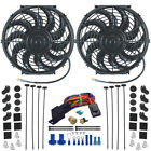 DUAL ELECTRIC RADIATOR ENGINE COOLING FANS THERMOSTAT SENSOR KIT THREAD IN PROBE