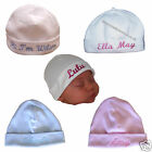 Personalised Embroidered Baby Hat White/pink/blue  Newborn & 0-3mths Baby Gifts