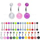 Glitter Belly or Tongue Bar - 6mm 8mm 10mm 12mm 14mm 16mm 19mm Nipple Barbell