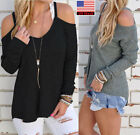 Women Casual Off Shoulder Long Sleeve Knitted T-shirt Sweater Jumper Cozy Shirt