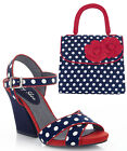 Ruby Shoo Evie Fabric Thick Heel Sandals UK 3-9 & Matching Tortola Bag Navy Spot