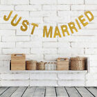 Gold SilverJust Married Heart Bunting Wedding Vintage Decoration Ornaments