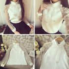 Women Bow Tie Pearl Decor Chiffon Organza Blouse Long Sleeve Perspective Tops