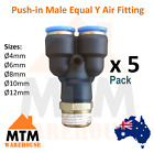 5 x Push in Air Fitting Equal Y with Male Thread 4mm to 12mm Diameter PT Pack