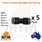 5 x Push in Air Fitting Equal Union Straight Connector Pneumatic Systems Pack