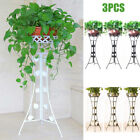 3PCS Outdoor Indoor Metal Pot Plant Stand Garden Decor Flower Rack Black White