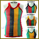 MENS & LADIES 100% COTTON FITTED STRING FISHNET MESH VEST RASTA JAMAICA TANK TOP