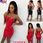 strapless red mini dress - US Women Strapless PU Leather Bodycon Lace Up Evening Cocktail Party Mini Dress