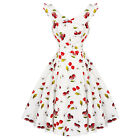 Hearts and Roses London Floral Cherry Ivory 1950s Retro Vintage Flared Sun Dress