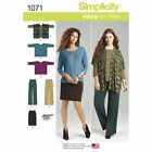 S1071 Simplicity Sewing Pattern EASY Misses 4-26 Knit Skirt Pant Loose Top Vest