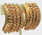 BIG CHUNKY LES BERNARD MODERNIST RHINESTONE CRYSTAL GOLD PLATED CLIP ON EARRINGS
