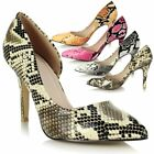 Ladies Stiletto High Heel Pointed Toe Snake Print Asymmetric Party Court Shoes