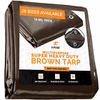 Super Heavy Duty All Purpose Brown Poly Tarp 16 Mil Waterproof Cover Tarpaulin