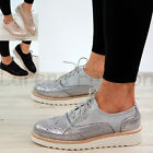 New Womens Flatform Casual Sneakers Lace Up Office Loafer Metallic Brogue Shoes