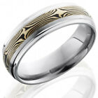 Titanium 7mm Domed Band with Grooved Edges and 3mm 14K White Gold