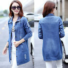 NEW Fashion Women Denim Jacket Trench Coat Long Overcoat Open Front Cardigan 5XL