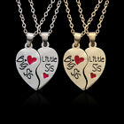 Uk 2pc Silver Gold Plt Big Little Sis Necklace Sister Family Jewellery Gift Idea