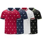 New Men Polo T-Shirt Collar Tee Black White Blue Red Sizes S-3XL Elastic Arms  image