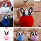 1PC Accessories Leather French Bulldog Ball Rabbit Fur Ball Key ring Gifts