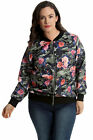 New Womens Plus Size Bomber Jacket Ladies Camouflage Floral Print Rib Arm Cuffed