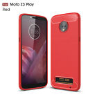 For Motorola Moto Z3 / Z3 Play Shockproof Armor Carbon Fiber Hybrid Brush Case
