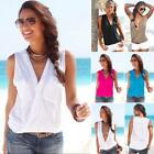 Sexy Top Female T-shirt V Neck Sleeveless Patchwork Shirt Women Cotton Plus Size