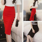 Elegant Women Ladies Slim Sexy Open Slit Button Slim Midi Pencil Skirt S--3XL
