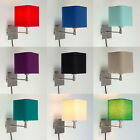 Plug In Easy Fit Square Cotton Shade Wall Sconce Light Lamps Bedside Lights NEW